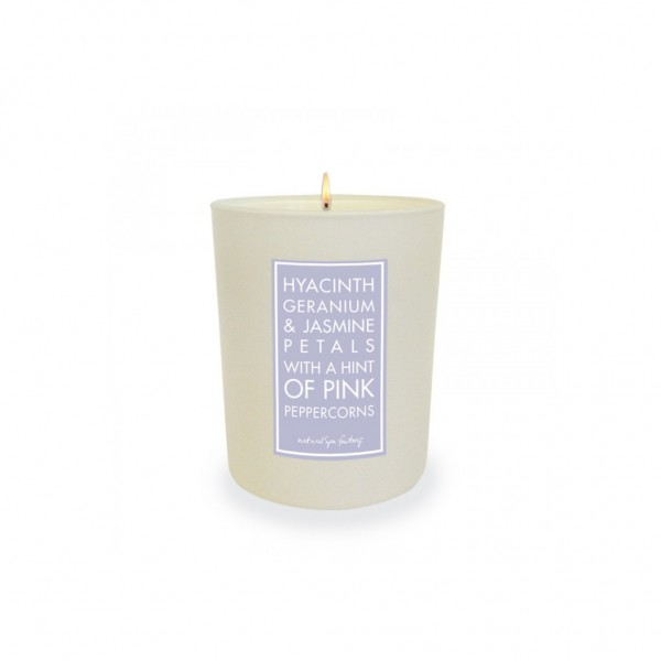 Flower Explosion White Glass Candle